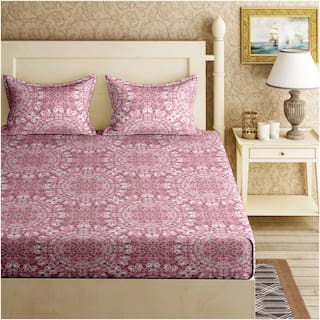 Bella Casa Cotton Floral King Size Bedsheet 120 TC ( 1 Bedsheet With 2 Pillow Covers , Pink )