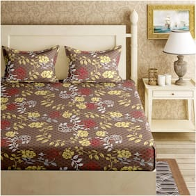 Bella Casa Cotton Floral King Size Bedsheet 120 TC ( 1 Bedsheet With 2 Pillow Covers , Brown )