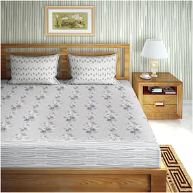 Bella Casa Cotton Floral King Size Bedsheet 180 TC ( 1 Bedsheet With 2 Pillow Covers , Grey )