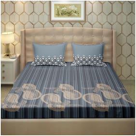 Bella Casa Cotton Motifs King Size Bedsheet 250 TC ( 1 Bedsheet With 2 Pillow Covers , Blue )