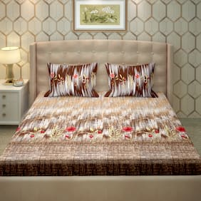 Bella Casa Cotton Printed King Size Bedsheet 250 TC ( 1 Bedsheet With 2 Pillow Covers , Brown )