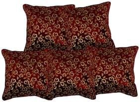 Benicia Printed Velvet Square Shape Maroon Cushion Cover ( Regular , Pack of 5 )