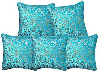 Benicia Printed Velvet Square Shape Blue Cushion Cover ( Regular , Pack of 5 )