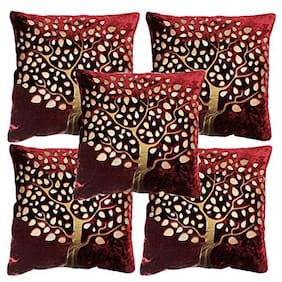 Benicia Printed Velvet Square Shape Maroon Cushion Cover ( Regular , Pack of 5 )