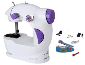 Benison India Electric Mini Sewing Machine For Home Hand Machine To Sew Lock Stitch Adjustment With Light Handheld Portable Sewing Machine with Stapler