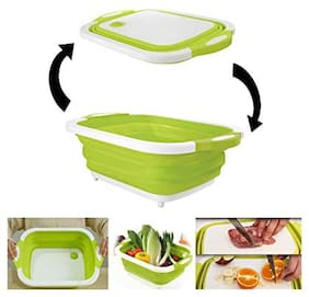 Benison india 3-in-1 Folding Cutting Board with Basket;Multi-Board Kitchen Foldable Cutting Board Fruit Vegetables Washing Drain Sink Storage Basket (1 pcs)
