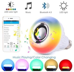 Benison India LED Music Light Bulb with Bluetooth Speaker RGB Self Changing Color or one Color with Remote Lamp Built-in Audio Speaker for Home,Bedroom,Living Room,Party Decoration