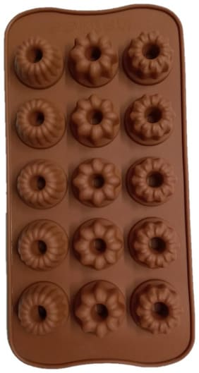 Benison India Silicone Chocolate Mould Unique Round Multi Flower Design Cup Shape Maker Jelly Icecube Cube Tray(Pack of 1)