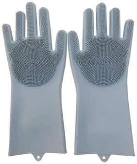 Benison India Silicone Gloves with Wash Scrubber Non-Slip for Household Cleaning Great for Protecting Hands in Dishwashing;Car Washing;Pet Grooming;Kitchen;Bathroom;Cleaning