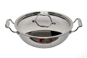 Bergner Argent Triply Stainless Steel Kadhai with Stainless Steel Lid 24 cm 2.5 L Induction Base Silver