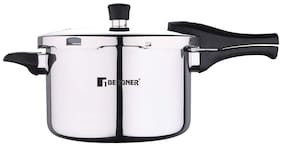 BERGNER BG-9703-MM Stainless Steel 5.5 L Induction Bottom Outer Lid Pressure Cooker - Set of 1 , ISI Certified