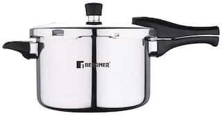 BERGNER BG-9703-MM 5.5 L Outer Lid Pressure Cooker Induction Bottom ( Silver , Stainless Steel , Set of 1 )