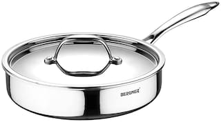 BERGNER With Lid Fry Pan Induction Bottom 22 cm Diameter ( Stainless Steel , Set of 2 )