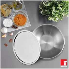 Bergner Argent Triply Stainless Steel Tasra with Stainless Steel Lid,14 cm,0.60 L,Induction Base,Silver