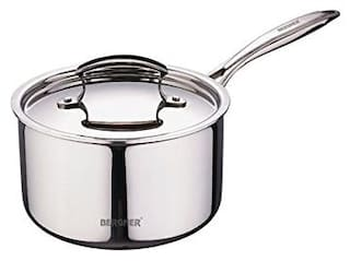 BERGNER 1 ltr With Lid Sauce Pan Induction Bottom ( Stainless Steel , Set of 2 )