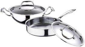 Bergner Argent Triply Stainless Steel 2 Pcs Cookware Set - Kadai 22cm & Saute Pan 22cm with SS Lids (Silver)