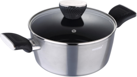 Bergner Carbon Tt Forged Aluminium Non-Stick Casserole With Glass Lid,20 Cm,2.6 Liters,Induction Base,Metallic Grey