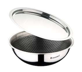 BERGNER 2.25 L With Lid Woks Induction Bottom ( Stainless steel , Set of 1 )