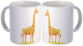 best couple giraff animal printed gift design on white ceramic coffee mug