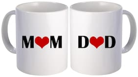 best Mom and dad with heart couple printed gift design on white ceramic coffee mug