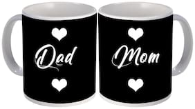 best Mom and dad with heart printed gift design on white ceramic coffee mug