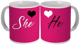 best she and he couple printed gift design on white ceramic coffee mug