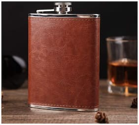 Bewitching 7Oz 210ml Stainless Steel Leather Brown Wine Holder Whiskey Holder;Hip Flask