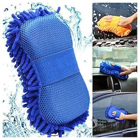 Bg bazzar gali Multipurpose Microfibre Car Cleaning Sponge for Car Window Wash Gloves (Assorted Color) Pack of 1