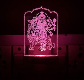 BG Bazzar Gali Acrylic Shera Wali MATA/Vaishno Devi Night Lamp Color Changing LED Table Night Lamp / 3D Night Lamp Decoration for Bedroom/Living Room/Temple/Festivals