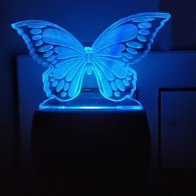 BG Bazzar Gali Stylish 3D Butterfly Acrylic Night Lamp with 7 Colour Changing ( 1 pc. )