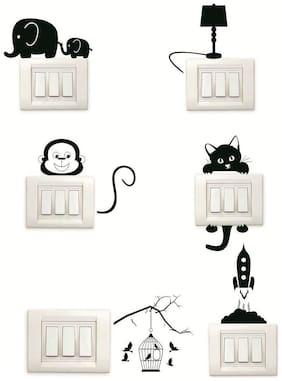 ARWY Set Of 6 Decorative Beautiful Modern Art Switch Board Stickers