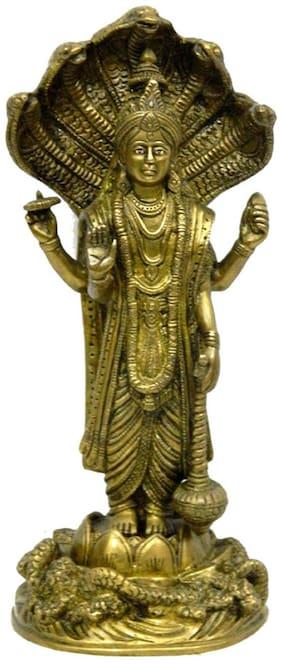 Pure Brass Metal Vishnu Standing Statue in Fine Finishing and Decorative art by Bharat Haat BH03973