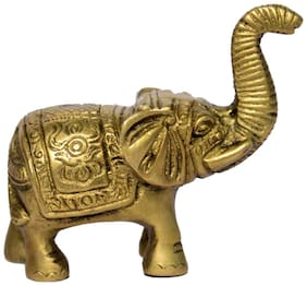 Brass Metal Elephant with Carving and Finishing Work in Small in Size by Bharat Haat BH00997