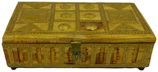 Made with Brass Metal Dry fruit Box Medium in Size wood Handicraft India art by Bharat Haat BH02852