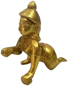 Pure Brass Metal Bal Krishna in Fine Finishing and Decorative Statue by Bharat Haat BH04698