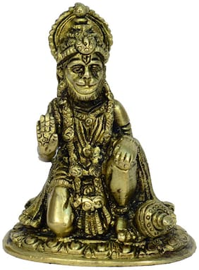 Brass Metal Lord Hanuman Medium Size Statue with Excellent Finishing Work by Bharat Haat BH00823