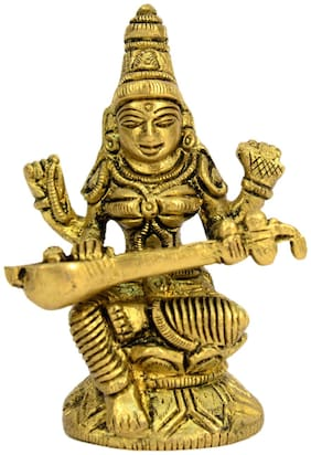 Brass Hinduism God Saraswati Devi small in Size in Fine Carving by Bharat Haat BH00553