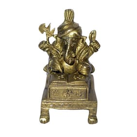 Brass Metal statue of Lord Small Ganesha Writing and Fine work by Bharat Haat BH01396