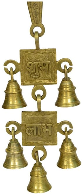 Brass Metal wall hanging subh labha bell double step with Decorative Carving Work by Bharat Haat BH00856