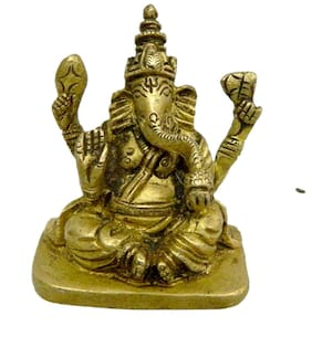 Pure Brass Metal Ganesh Sitting in Fine Finishing and Decorative art by Bharat Haat BH04166