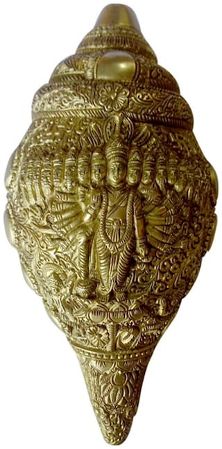 Brass Statue of Hindu Religious God Vishnu Dashavatar( God of Hindu) Shankh (Shell)with Excellent Decorated Carving Work India by Bharat Haat BH00123