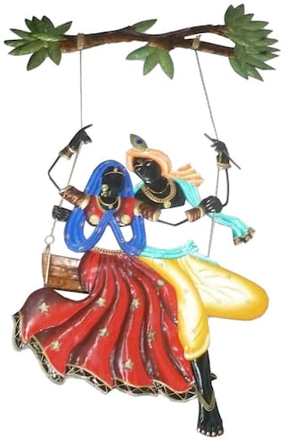 Made with Wrought iron Metal Radha Krishna Jula Small in size Decorative art by Bharat Haat BH02590