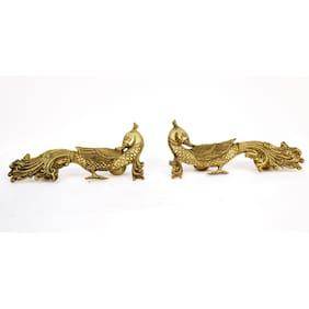 Brass peacock pair door handle pair by Bharat Haat BH00618