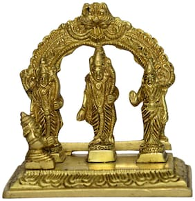 Brass Metal Statue of Ram in his Darbar with Excellent Carving and Finishing Work Small in Size by Bharat Haat BH00971