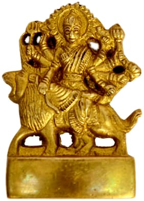 Yellow Brass Metal Religious Statue Of Ambe Devi in Fine Work by Bharat Haat BH00615