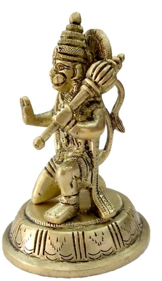 Pure Brass Metal Hanuman Sitting and Decorative Statue by Bharat Haat BH04652