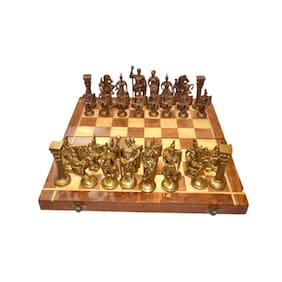 Unique Handmade Royal International Brass Chess set with Wooden Book Style Box and Storage from Bharat haat