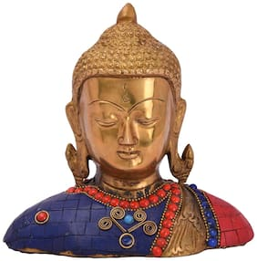 Lord Buddha Pure Brass Metal materials super Beautiful look, home, office gift item, Decorative art, and Decorative with color full stone item by Bharat Haat BH05053