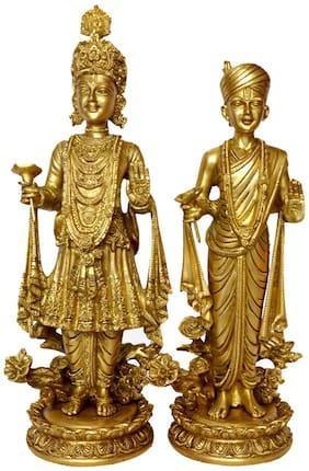 Pure Brass Metal Beautiful Statue Bhagvan Swami Narayan (Shri Shajanand Swami ) and (Pujya Akshar Murti) Shri Gunatinadan Swami. (BAPS) Fine finish Carving Work by Bharat Haat BH00009