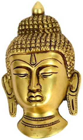 Brass Metal Religious Small Buddha Face in Fine Finishing and Carving Statue by Bharat Haat BH00562